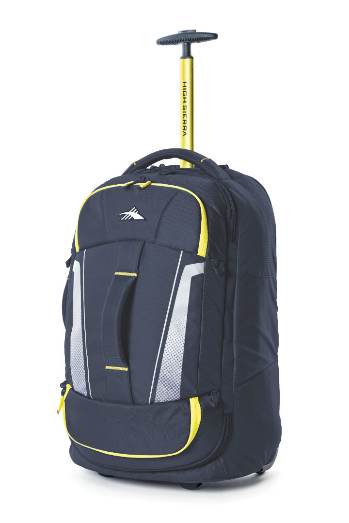 bc9425565848 High Sierra – Composite V3 56cm Small RFID Wheeled Duffle With Backpack  Straps – Navy yellow
