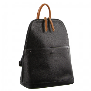 Milleni – Soft Italian Leather Backpack – Black/Cognac NL2442