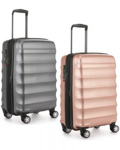 Antler Juno Metallic DLX – 56cm Small/Cabin Hardside Expandable 4 Wheel Spinner Suitcase – Charcoal/RoseGold