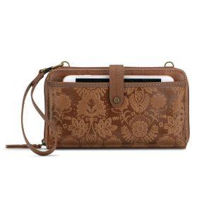 The Sak Iris Leather Large Smartphone Crossbody Mini Bag+Purse 107467-Tobacco Floral Emboss